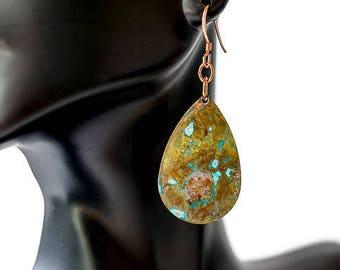 Teardrop Earrings, Brass earrings, Patina earrings, Rustic Earrings