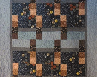Patchwork Quilt - blue and brown Japanese Rectangles and Squares
