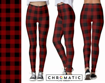 Red Buffalo Plaid Pattern Printed Leggings | Women's Leggings | Ankle or Capri Length