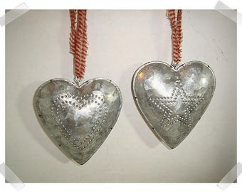 Metal Tin Heart w/hanging loop and Punch Out Design- Heart OR Star*/Single OR Set of 2/ Home Decor/ Supplies*