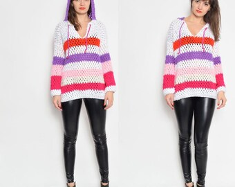 Vintage Crochet Hooded Color Blocking Sweater