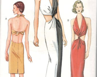 Vogue 7452 Misses Low V Neck Halter Evening Dress Pattern Bare Back Midriff Womens Vintage Sewing Pattern Size 8 10 12 Or 14 16 18 UNCUT