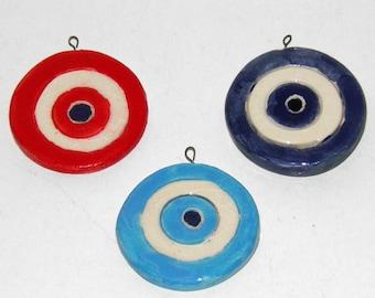 3 pcs Handmade Ceramic Eye Tiles 4.5cm - Blue Eye, Red Eye, Baby Blue Eye - Eye Ornament - Ceramic Decoration for Good Luck - Handpainted