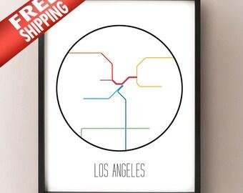 Los Angeles, California - Minimalist Metro Subway Art Print - Metro Rail
