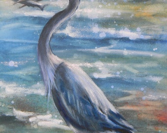 Blue Heron,A Good Catch, watercolor, Montana wild bird
