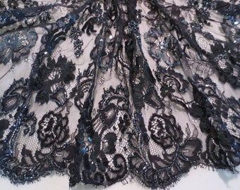 Black with Gunmetal Beaded French Chantilly Lace Fabric--One Yard