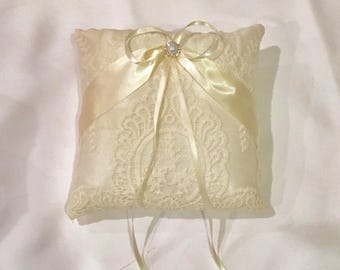 Wedding ring pillow ivory lace on ivory ring bearer pillow custom made