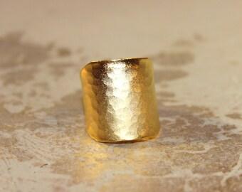 22 Karat Hammered Gold Cigar Band Ring