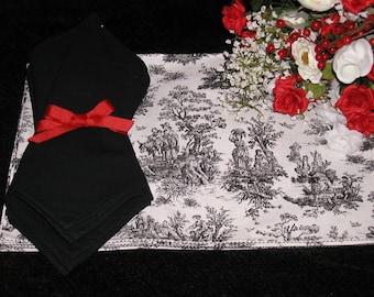 PR Design Jamestown Toile Placemat  Set of 4  - Black and White