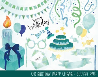 Birthday clipart, digital watercolor party overlays, hand-drawn printable clipart, birthday cake, scrapbooking, collage, instant download