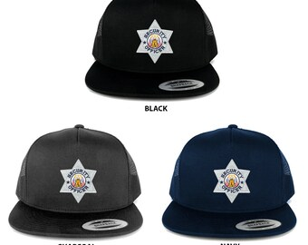 FLEXFIT 5 Panel Security Officer Silver Embroidered Iron on Patch Snapback Mesh Cap (6006-FCE103)