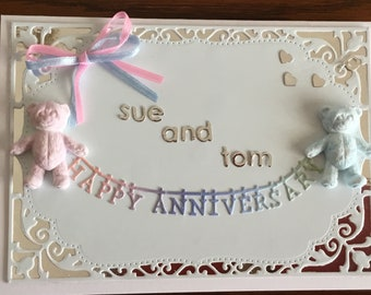 Anniversary card with teddies