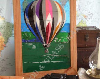 Hot Air Balloon, Tentai, Acrylic Stained Glass Art Panel, Window / wall decor,