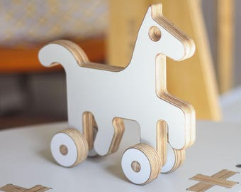 Pony / Horse Wooden Push Toy | White, Black or Grey | Handmade, Cute, Minimal, Modern Plywood Kids Toy | A Great Gift for Boys or Girls.