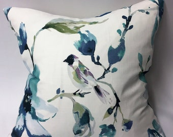 Watercolor Flowers & Bird in Shades of Indigo, Purple, Teal, Aqua Decorative Pillow Cover