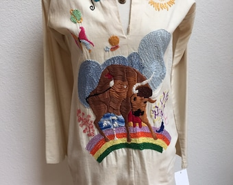 1970s Embroidered Bull/Taurus on a Rainbow Long Sleeve Tunic Blouse