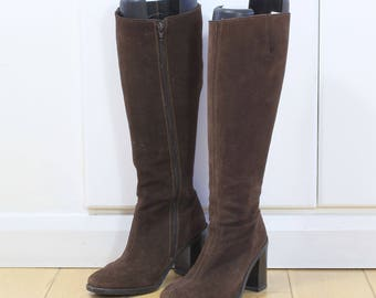 Dark Brown Suede Knee High Boots, Chocolate Brown Winter Suede Boots, Brown Leather Boots, Dark Brown Leather Winter Boots UK Size 5 EU 38