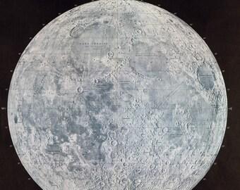 Lunar Art, Vintage Astrology, DECAL, Lunar Reference, Lunar Maps, antique lunar map, lunar landscape, vintage lunar map, lunar wall decor