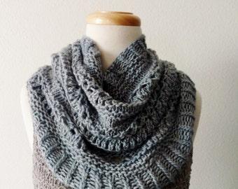 Pale Blue Soft Wool Boho Cowl - Winter Folk Lace Cowl Neckwarmer in Light Blue - Soft, Winter, Women's Fall Fashion, Mori Girl,