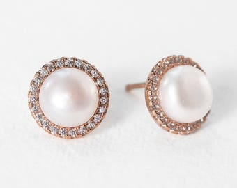 Pearl Earrings Rose Gold Jewelry Stud Earrings Bridal Accessories Bridesmaid Jewelry Bridal Sets Crystal Earrings E302-RG