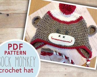 Sock Monkey Hat Crochet Pattern PDF | Sock Monkey Hat Pattern Crochet PDF | Sock Monkey Crochet Pattern |