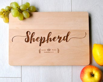 Custom Cutting Board Personalized Cutting Board Wedding Gift Cutting Board Engraved Anniversary Cutting Board Christmas Gift Family Name