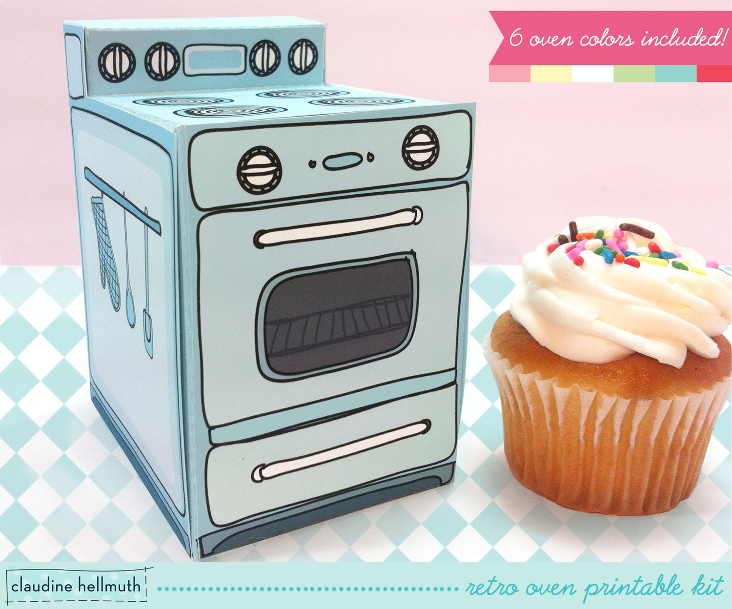 retro oven cupcake box cookie candy treat and party