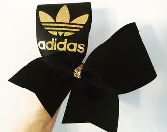 Black and Gold Holographic adidas cheer bow
