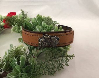 Hand Stained Layered Brown Leather Cuff Bracelet with Nickel Plate Gambling theme Cards, Guns, and Roulette