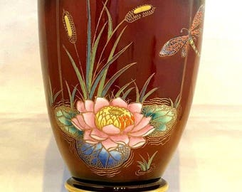 "Beautiful~Carlton Ware~England~Vintage~Retro~Bullrushes & Dragonfly~Rouge Royale~Vase~c.1950+~Gold Trim~5.5""~Collectible~Perfect Gift!"