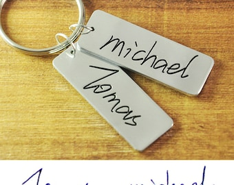 Personalized signature key chain, Alloy couple key chain set, Hand writing key chains, Memorial Keychain, Hand Stamped Couples Valentines