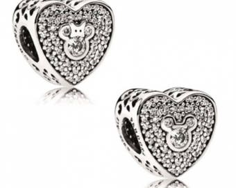 Authentic Mickey and Minnie Sparkling Hearts Charm/Fully Stamped