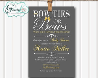 Baby Shower Invitation, Bow Ties and Bows Baby Shower Invitation, Neutral Baby Shower Invitation, Personalized Baby Shower Invitation