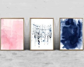 Set of 3 Watercolor Prints, Abstract Watercolor Painting Pink Indigo Blue Paint Splatter Modern Art Contemporary Minimalist Large Wall Art