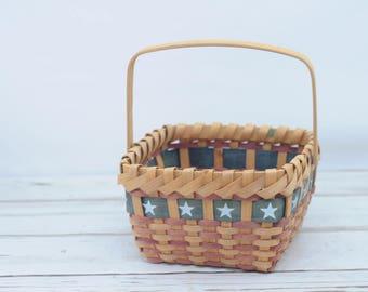 Market Basket Vintage Patriotic 4th of July Red White and Blue Decorative Basket