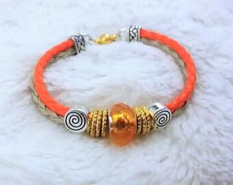 pretty beige and orange braided cord bracelet