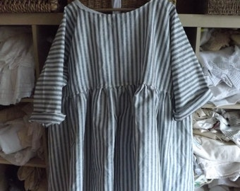 RITANOTIARA Georgia European Linen Prairie Oversized Stripe Stripey shirt All SIzes Mid West Shabby Chic  funky quirky layering Lagenlook