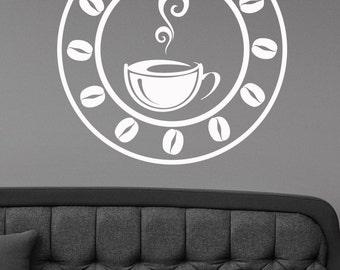 Coffee Wall Decal Window Sign Vinyl Sticker Modern Cafe Logo Art Decorations for Coffee Bar Shop House Dinning Room Kitchen Decor cff2