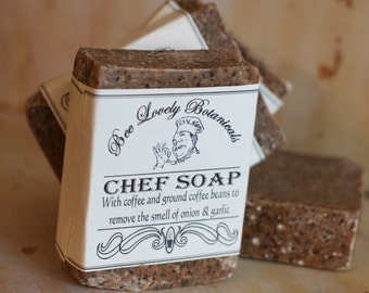 Chef Soap Cold Process made with brewed coffee and ground coffee to remove the smell of onions and garlic