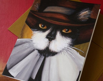 Pilgrim Cat Card Tuxedo Cat Puritan Greeting Card