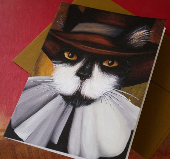 Goodman Pilgrim Tuxedo Cat Greeting Card