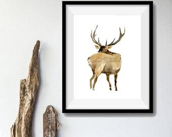 Elk art print of original watercolor painting, wild life art, deer print, animal art, elk print, art for men, woodland art