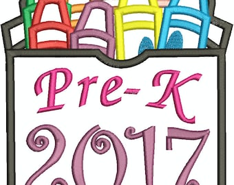 Pre-K 2017 Box of Crayons, Back to school , first day of school, Applique, Machine Embroidery Design 136