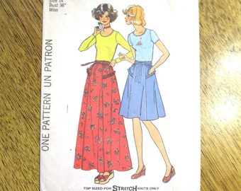 BOHO 1970s High Waisted Peasant Skirt / A Line Skirt & Knit T Shirt Top - CHOOSE Size (12 or 14) - Vintage Sewing Pattern Simplicity 7232