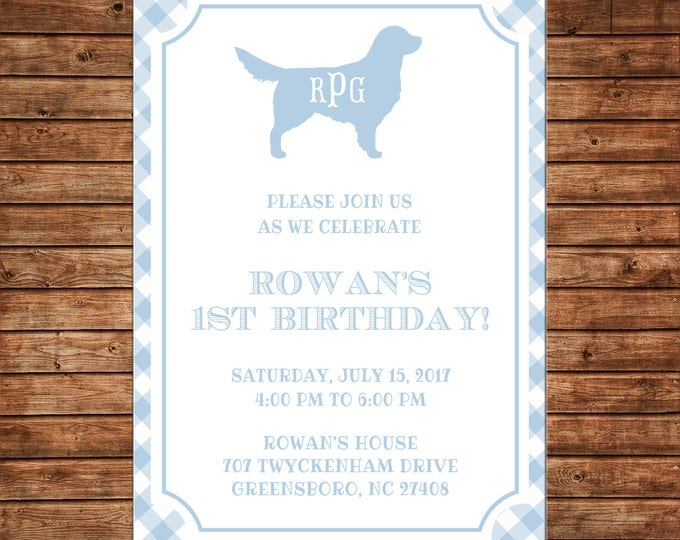 Boy or Girl Invitation Gingham Check Monogram Dog Puppy Birthday Party - Can personalize colors /wording - Printable File or Printed Cards