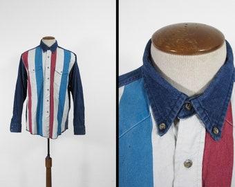 Vintage Wrangler Southwestern Shirt Denim Button Down Collar Cowboy Shirt - Size Large