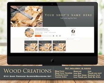 "Etsy branding kit-business branding-Etsy shop banner set-Etsy help-shop graphics-graphic design-shop banner set-wood cover ""Wood Creations"""