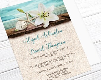 Beach Reception Only Invitations - Lily Seashells Sand Teal - Tropical Wedding, Destination Wedding, Seaside Reception - Printed Invitations