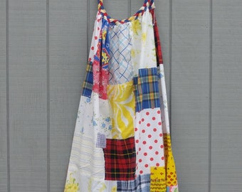 Patchwork beach dress,primary colors,S-XL,boho,braided neckline,red,blue,yellow,white,summer dress,upcycled clothing,repurposed clothing