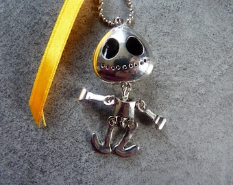 Cute little silver skeleton and Ribbon necklace
